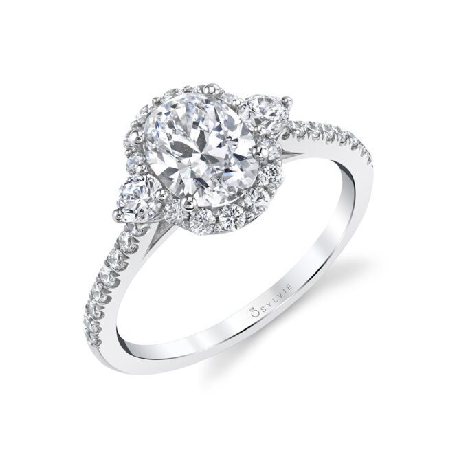 3 Stone Oval Engagement Ring with Halo - S1959S