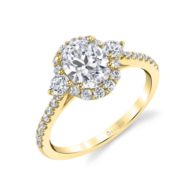 3 Stone Oval Engagement Ring S1959S-YG