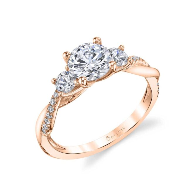 3 Stone Engagement Ring with Spiral Band - Evangeline