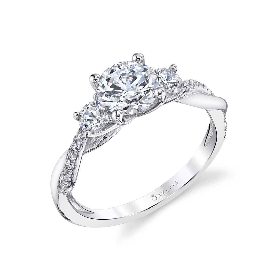 Side view of a 3 Stone Engagement Ring with Spiral Band - Evangeline - S