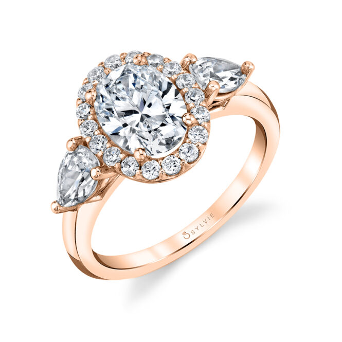 3 stone oval engagement ring with pear sides - Liilliana