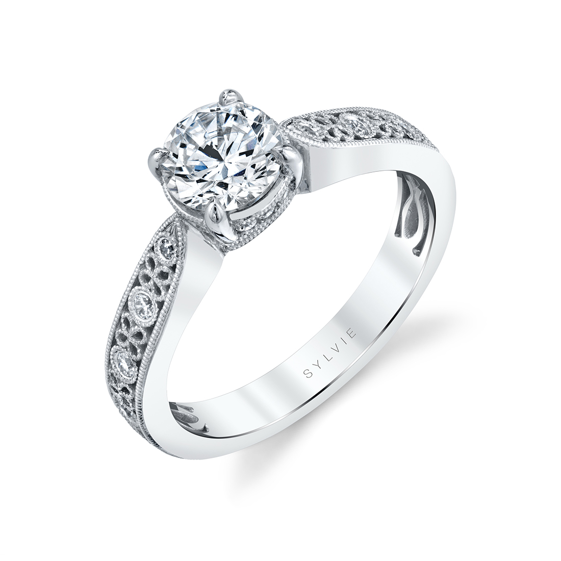 Side Profile of a Flower Engagement Ring - Olive - S2531