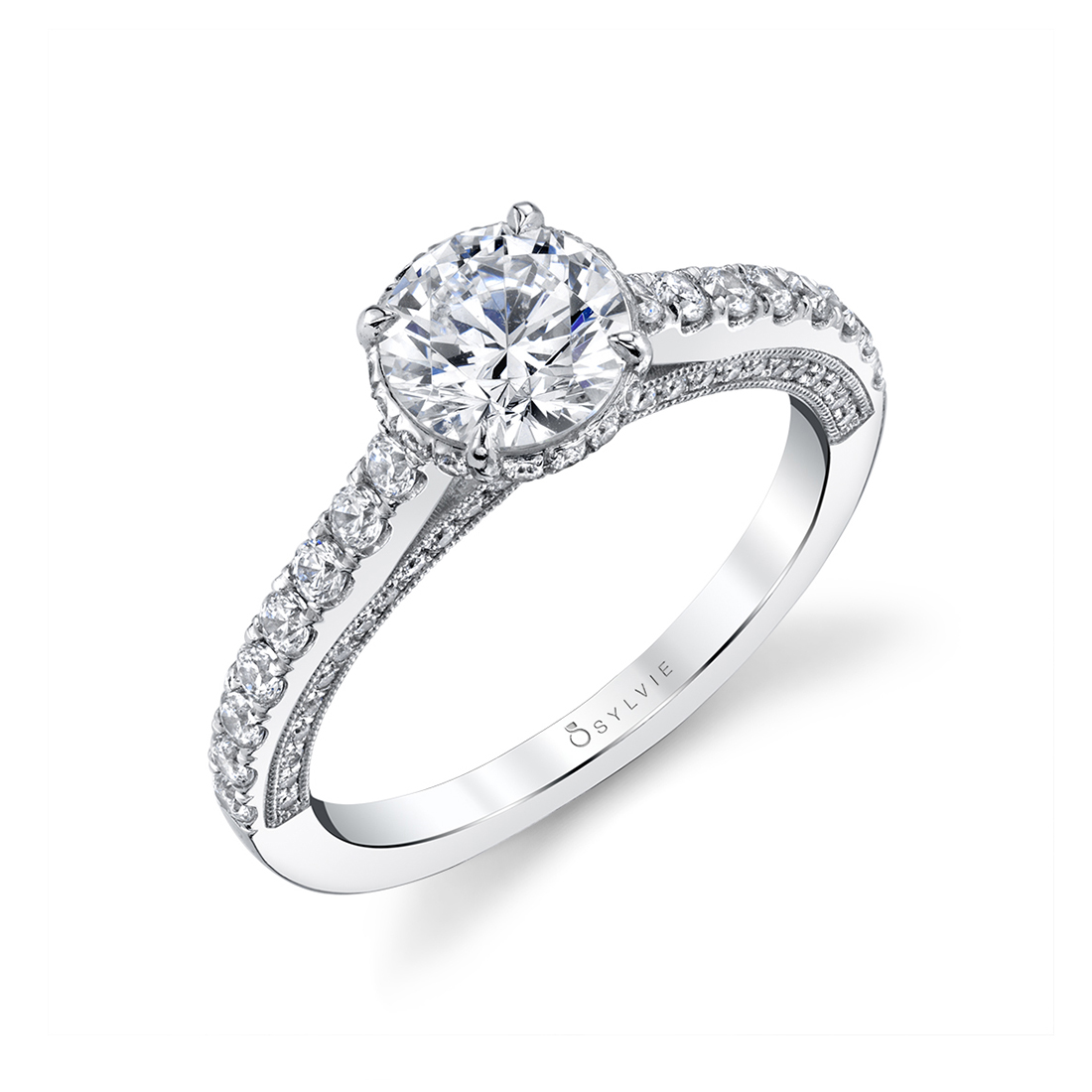 Hidden Halo Engagement Ring in white gold - Marianna - S1948