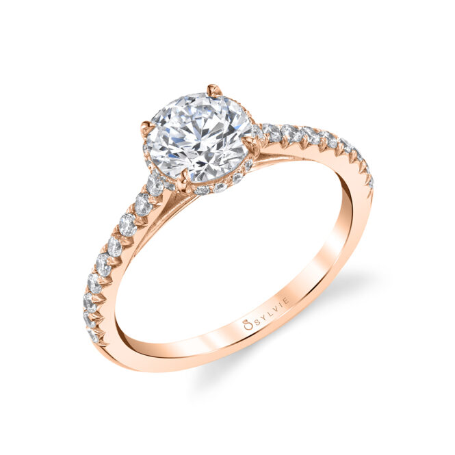 Hidden Halo Engagement Ring in Rose Gold - Harmonie - S1944-RG