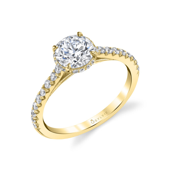Hidden Halo Engagement Ring in Yellow Gold - Harmonie - S1944-YG