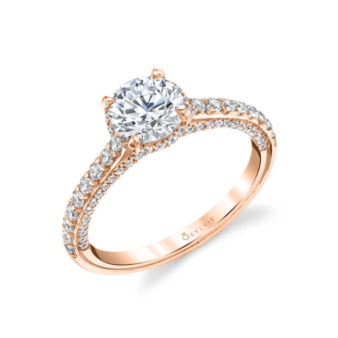 Rose Gold Hidden Halo Engagement Ring with Diamond Profile - Layla Ring - S1946-RG