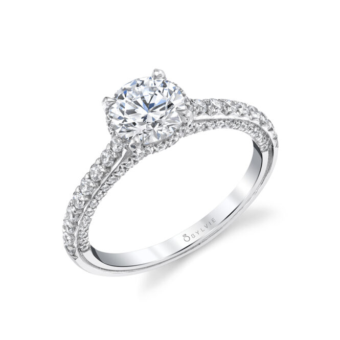 Hidden Halo Engagement Ring with Diamond Profile - Layla Ring - S1946-WG