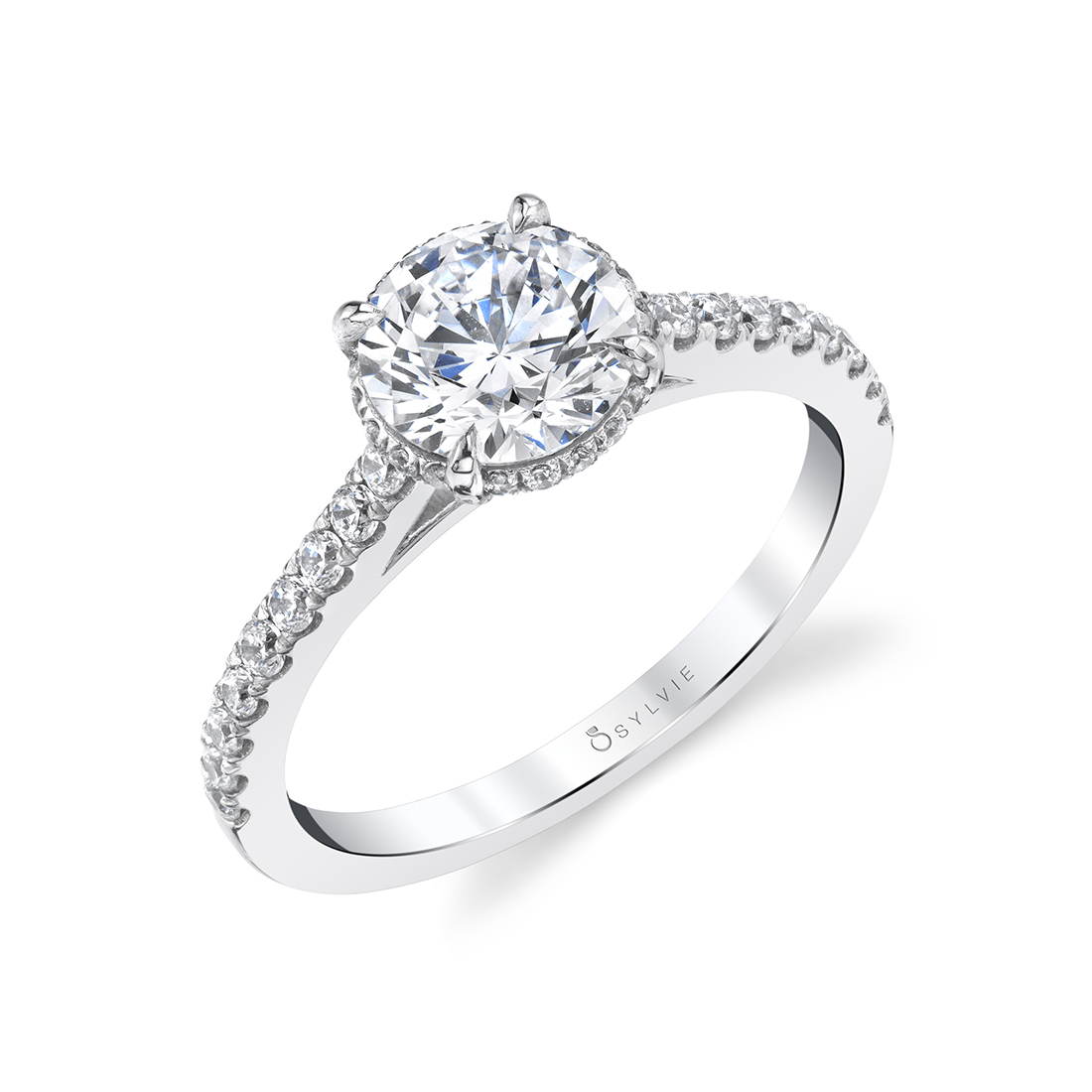 Profile Side View of Hidden Halo Engagement Ring Vienna S1950