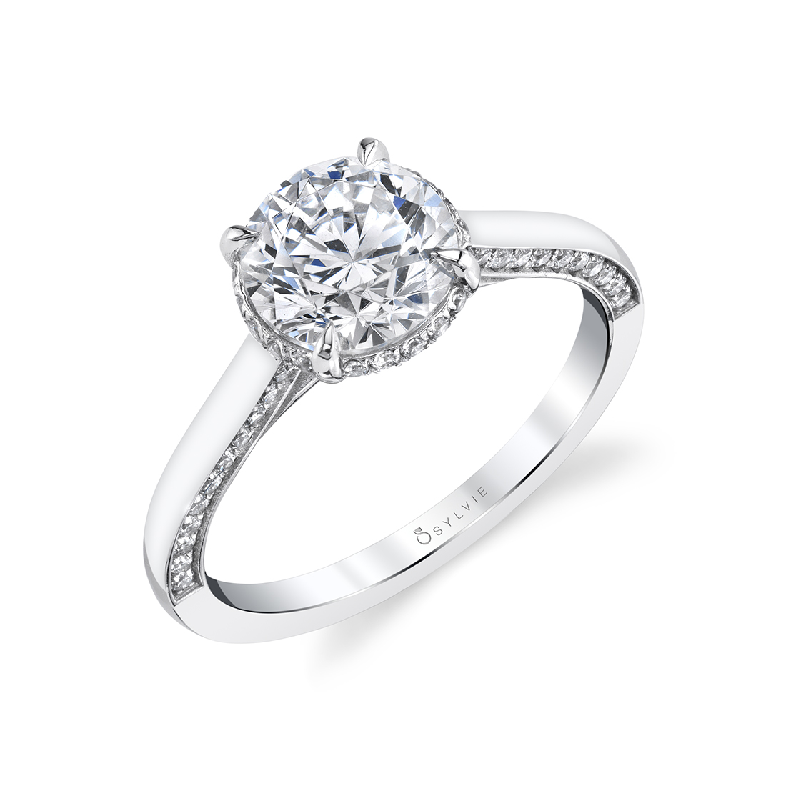 Hidden Halo Engagement Ring with Diamond Profile
