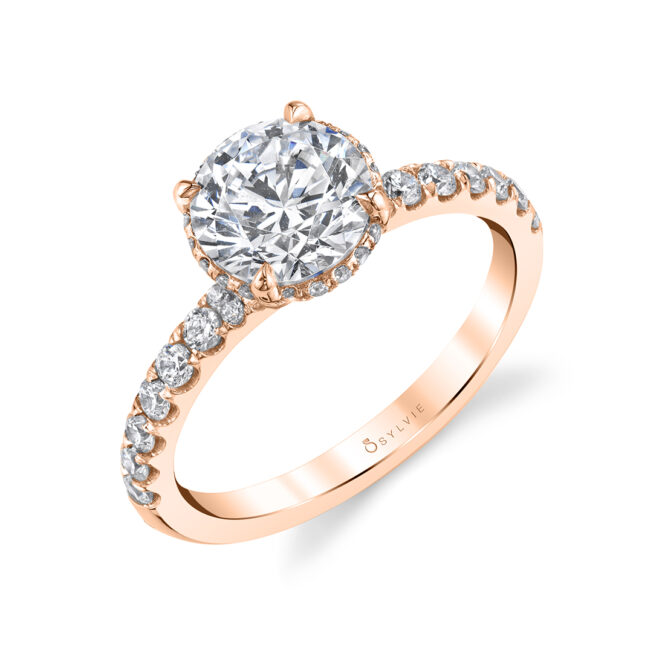 Rose Gold Hidden Halo Ring - Xenia - S1972-RG