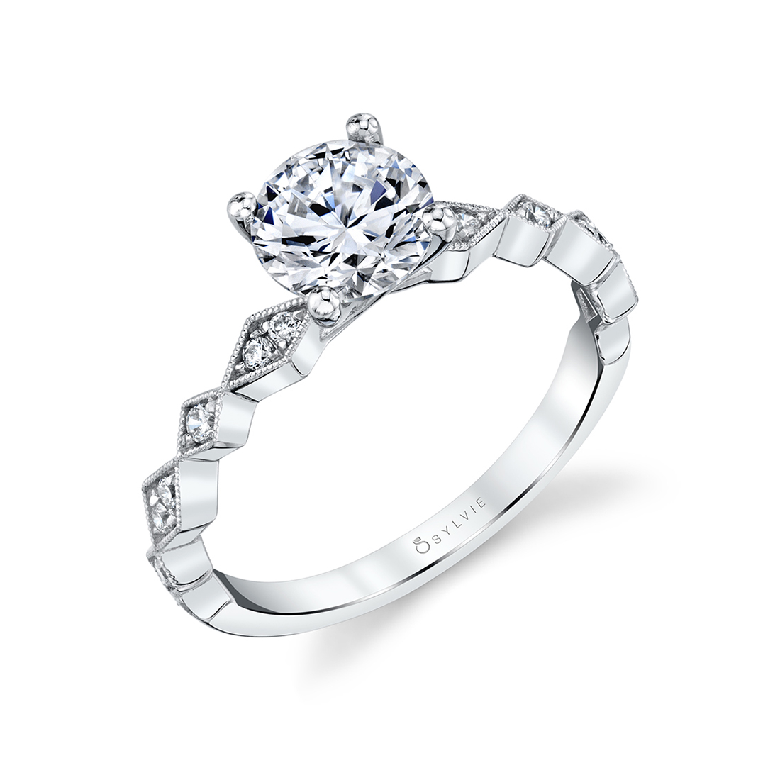 Profile view of a Modern Engagement Ring - Darcy