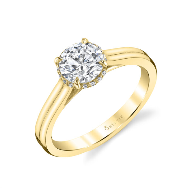 Solitaire Engagement Ring with hidden halo