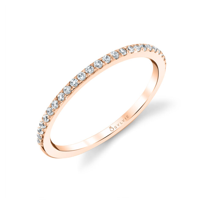 Thin Diamond Band in Rose Gold