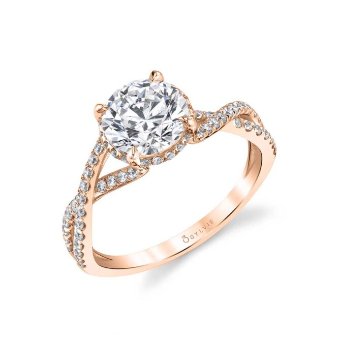 Twisted Engagement Ring with a hidden halo shown in rose gold - Agnia Ring
