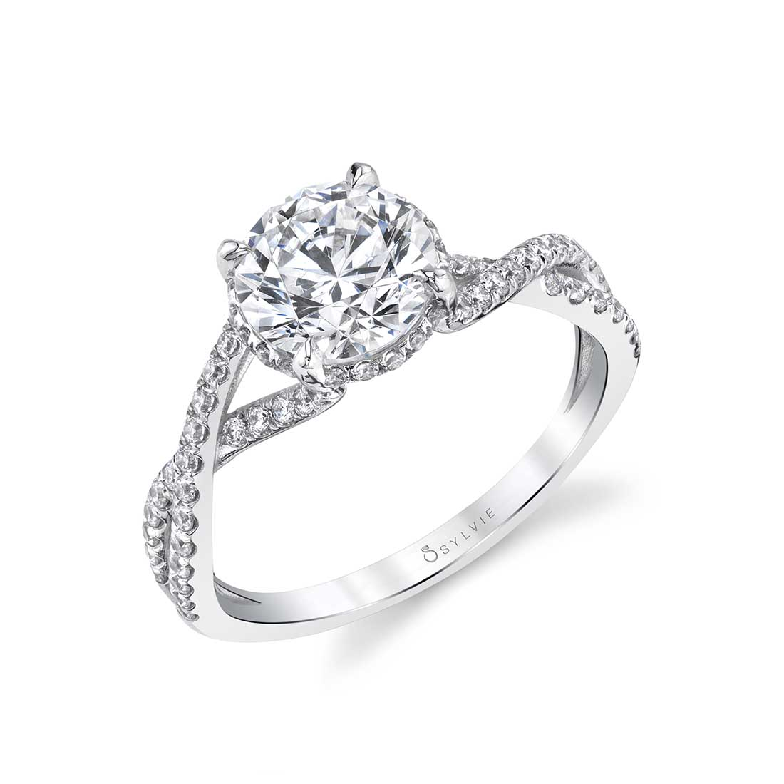 Twisted Engagement Ring with a hidden halo shown in white gold