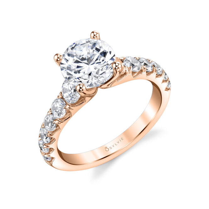 Wide Band Engagement Ring in Rose Gold - Andrea