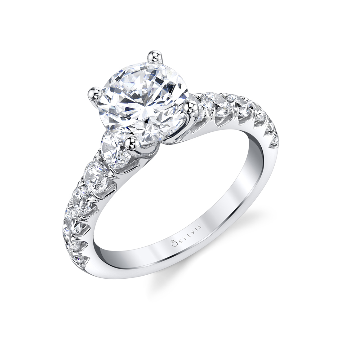 Profile Image of Wide Band Engagement Ring in White Gold - Andrea