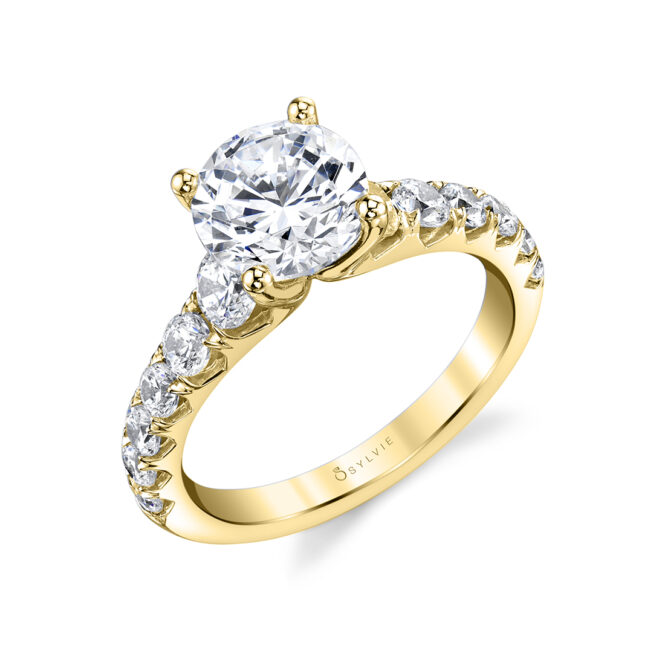 Profile Image of Wide Band Engagement Ring in Yellow Gold - Andrea
