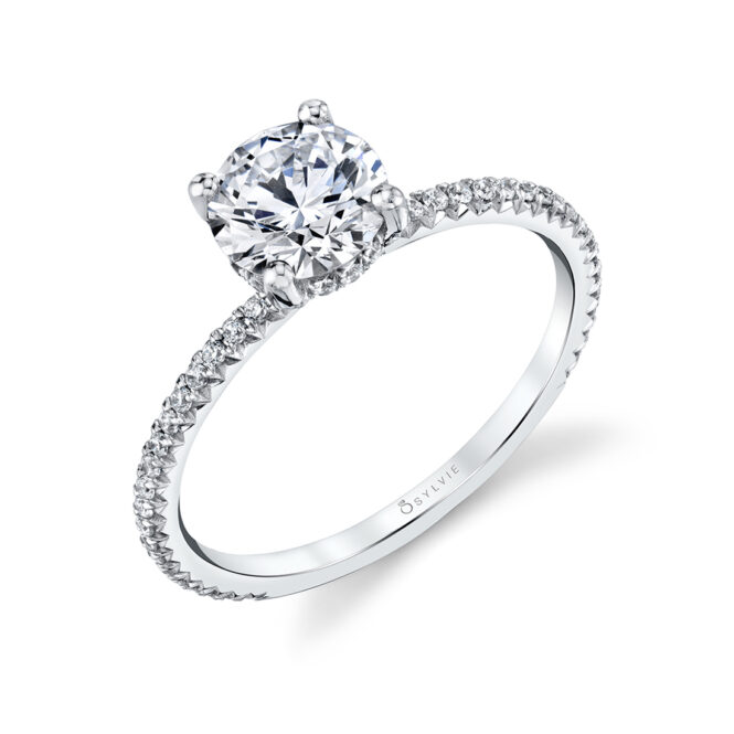 pave engagement ring - Erseline - S2893-WG