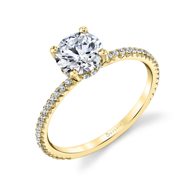 pave engagement ring - Erseline - S2893-YG