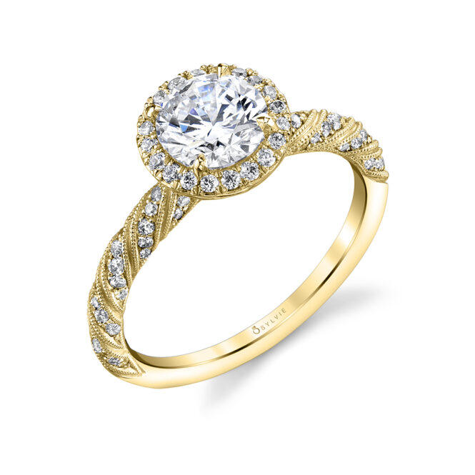 Profile image of unique round halo engagement ring