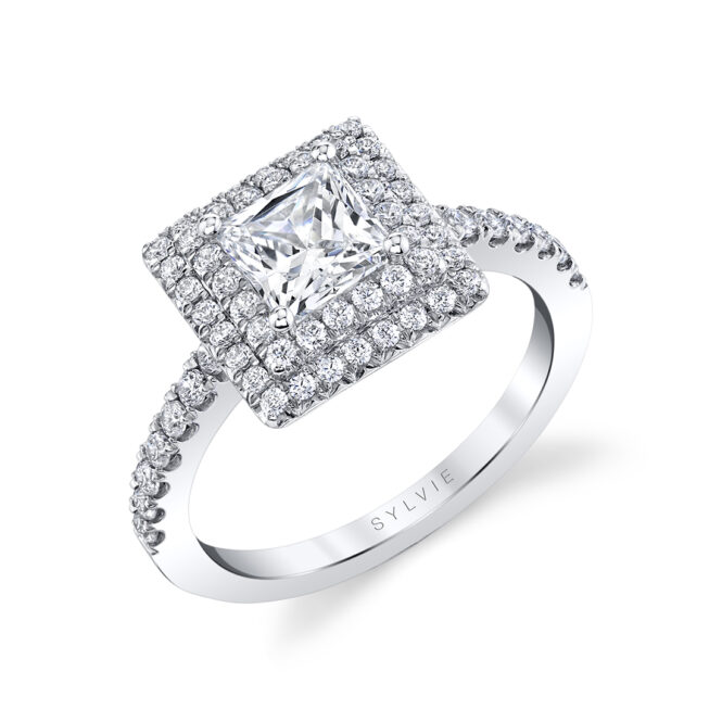 Double Halo Engagement Ring-