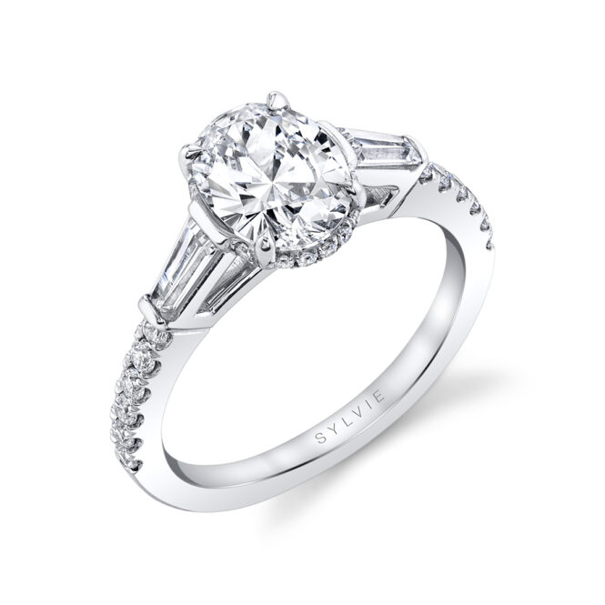 Oval engagement ring with baguette side stones S1961-OV by Sylvie