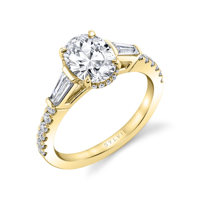 Oval engagement ring with baguettes-S1961-OV-YG-Sylvie