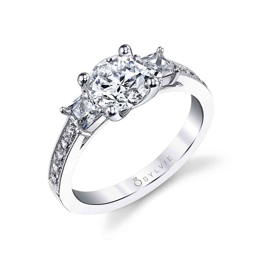 3 Stone Engagement Ring with Princess Sides Stones