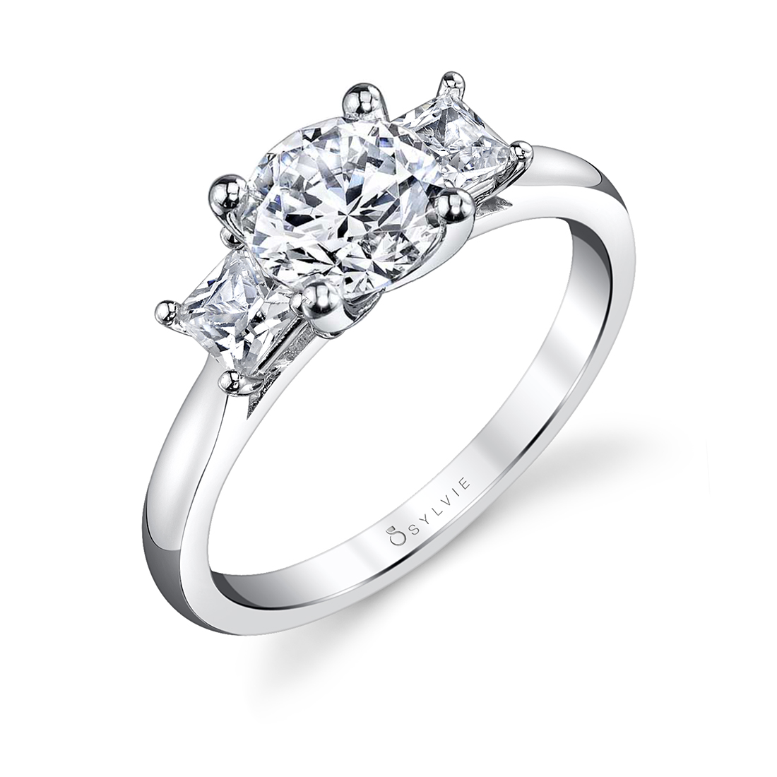 3 Stone Engagement Ring with Princess Side Stones - Micheline