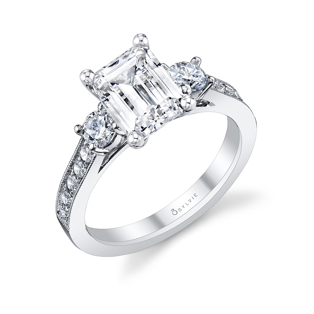 Emerald Cut 3 Stone Engagement Ring in white gold S1083-EM