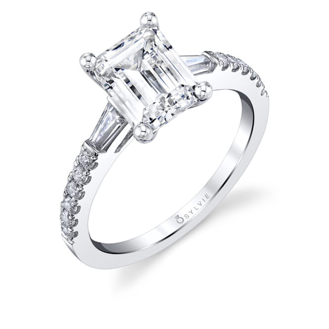 Emerald Cut Engagement Ring with Baguettes