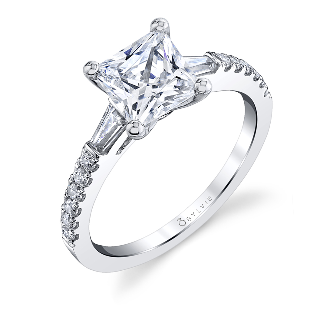 Princess cut engagement ring with baguettes
