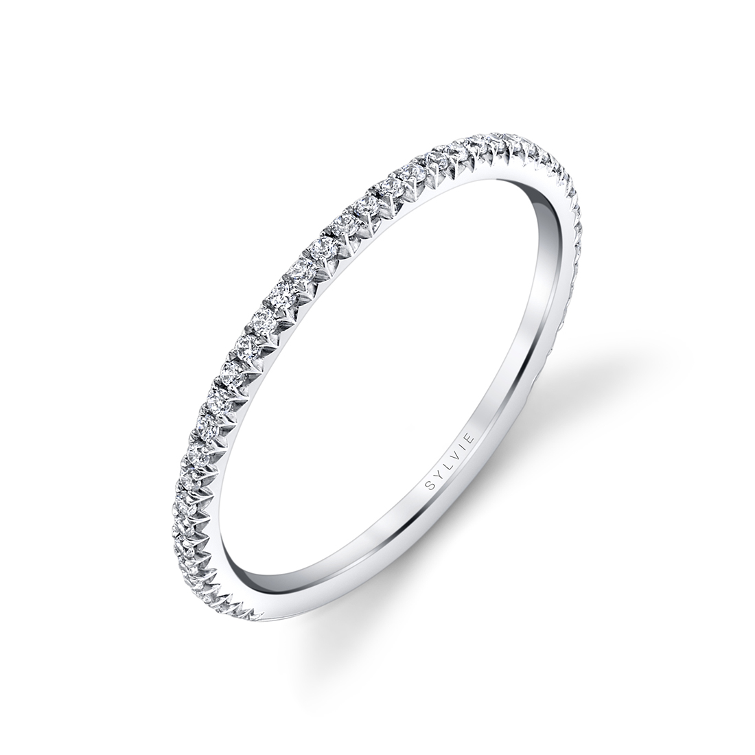 side view image of pave engagement ring - Erseline - S2893