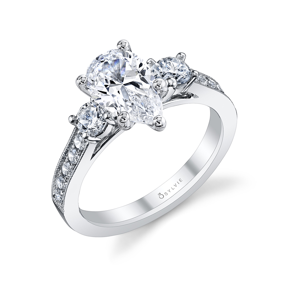 pear shaped 3 stone ring in white gold