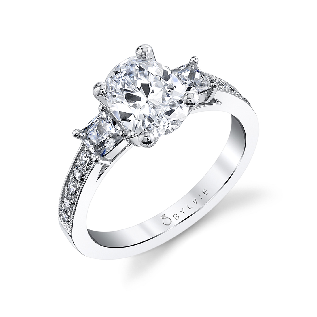 3 stone oval engagement ring princess side stones in white gold