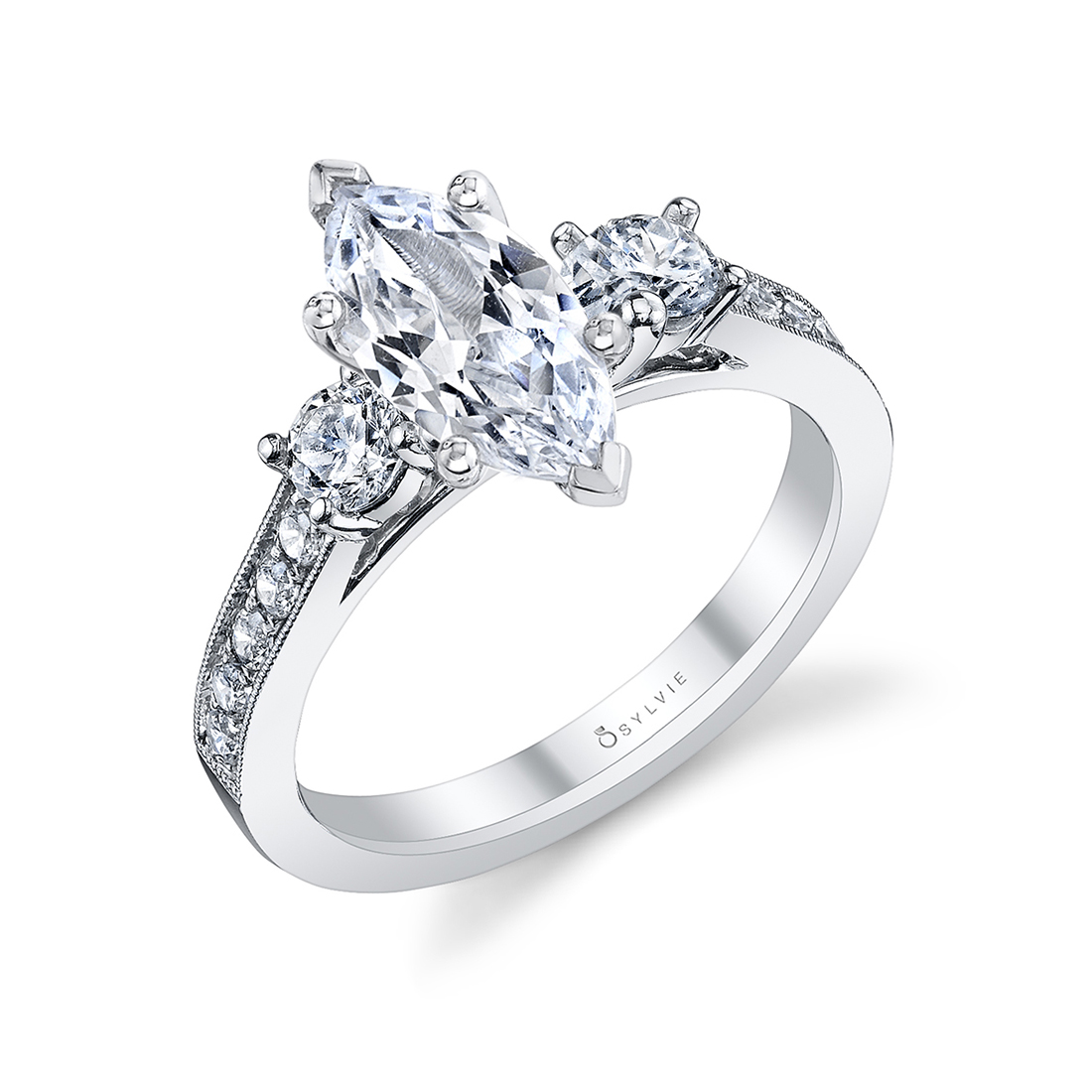 3 stone marquise engagement ring in white gold
