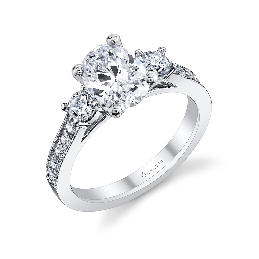 3 stone oval engagement ring in white gold