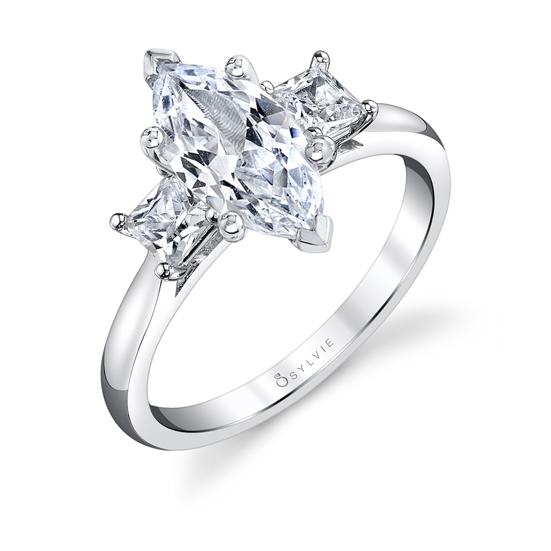 classic marquise engagement ring with 3 stones in white gold