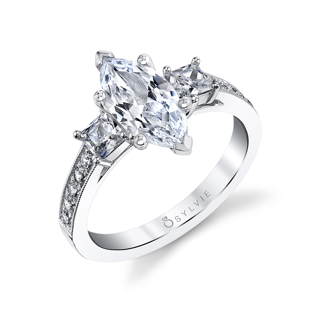 marquise 3 stone ring in white gold
