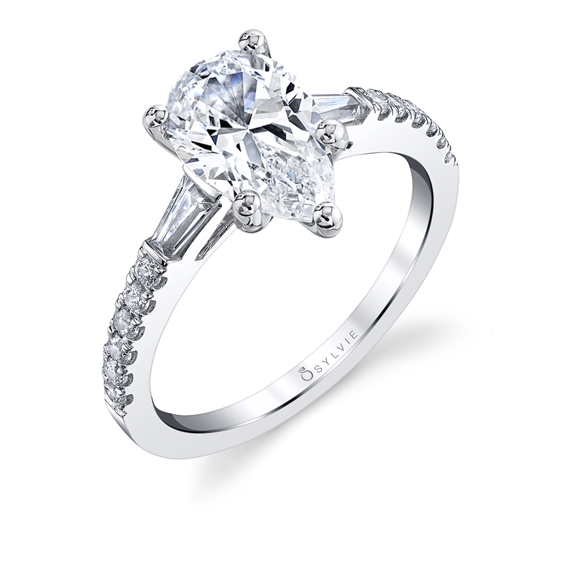 Pear Shaped Engagement Ring with Baguettes shown in white gold