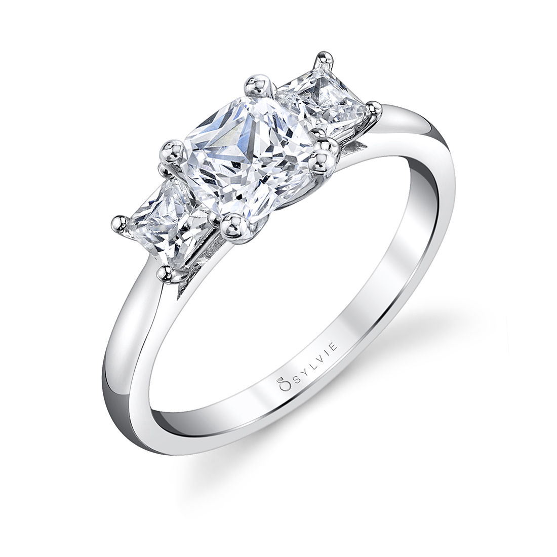 3 stone cushion cut engagement ring in white gold