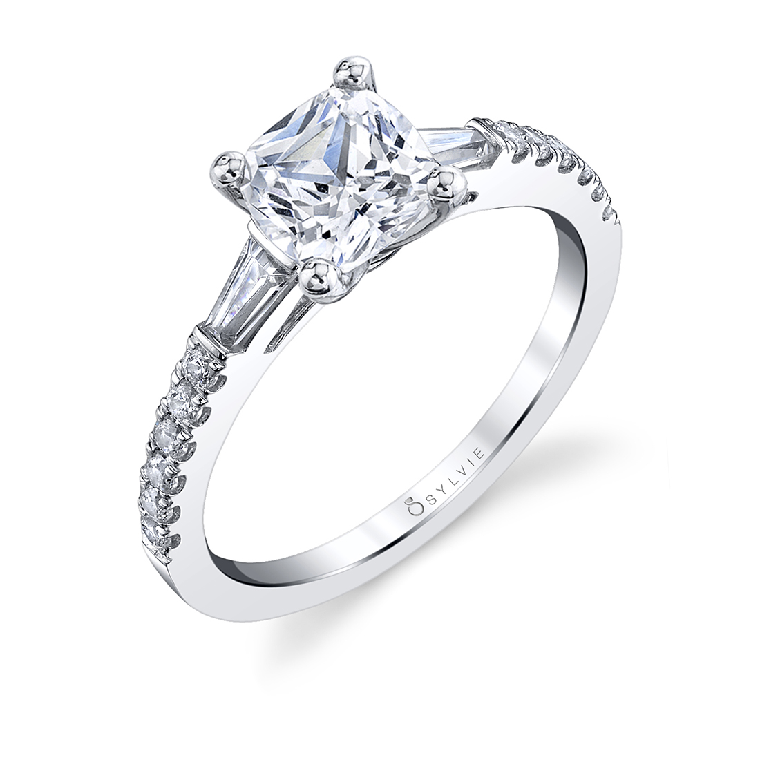 Cushion Cut Engagement Ring with Baguettes