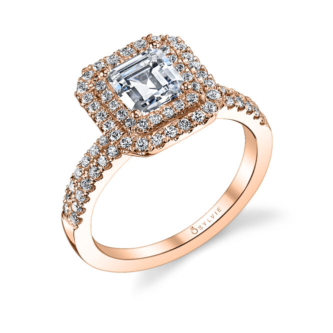 emerald cut double halo engagement ring in rose gold