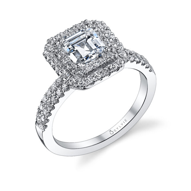 emerald cut double halo engagement ring in white gold
