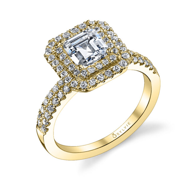 emerald cut double halo engagement ring in yellow gold