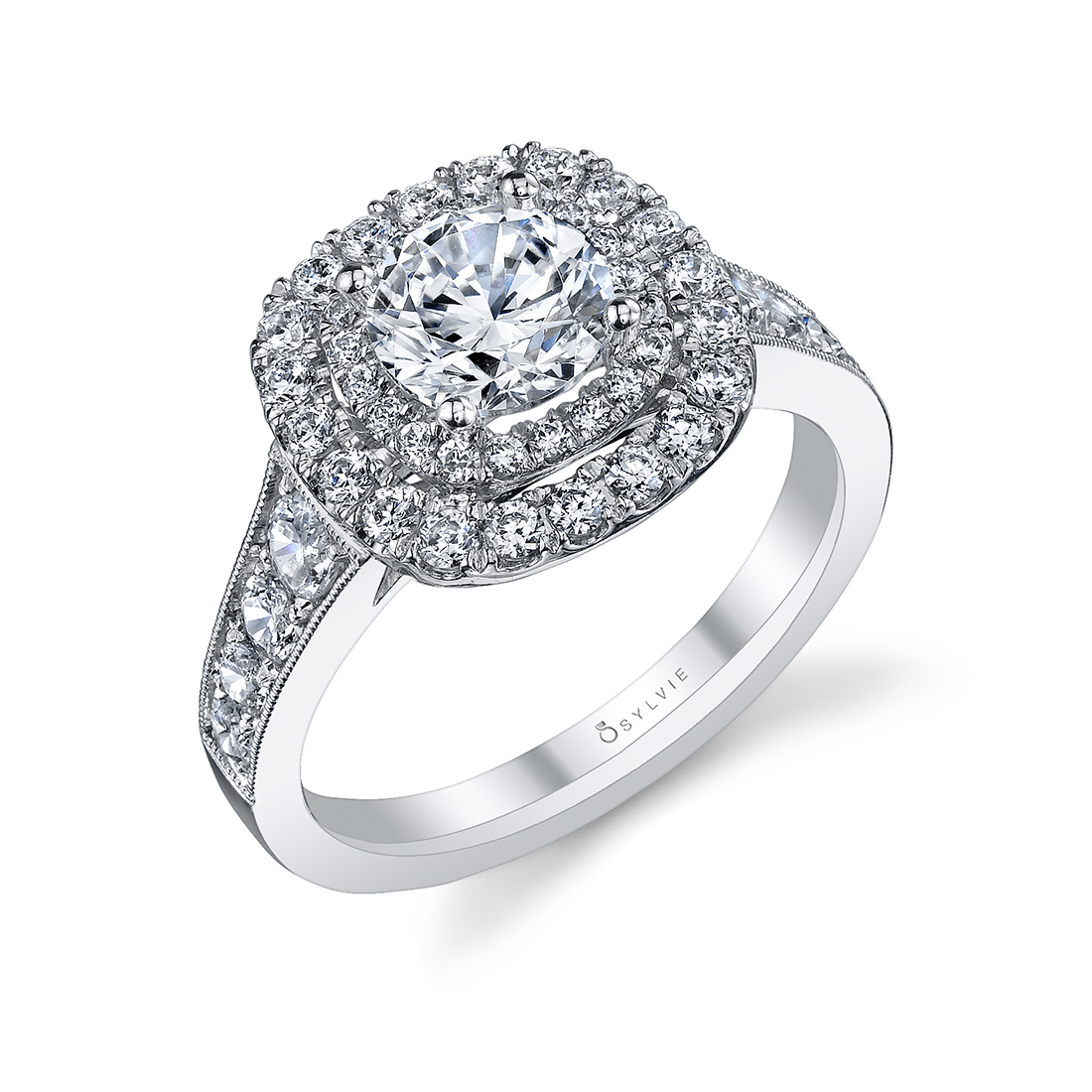 double cushion halo engagement ring in white gold