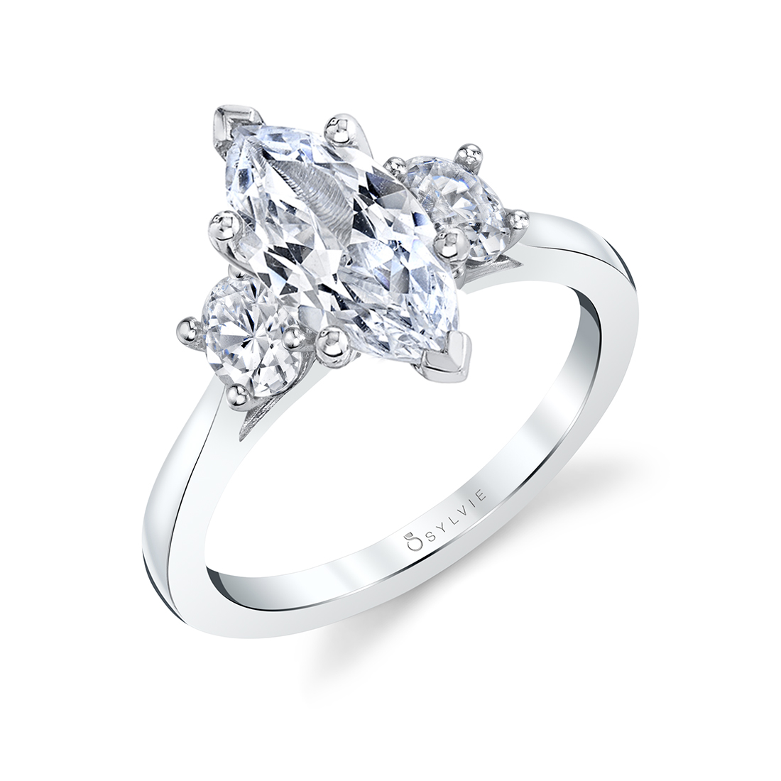 marquise engagement ring with oval side stones in white gold
