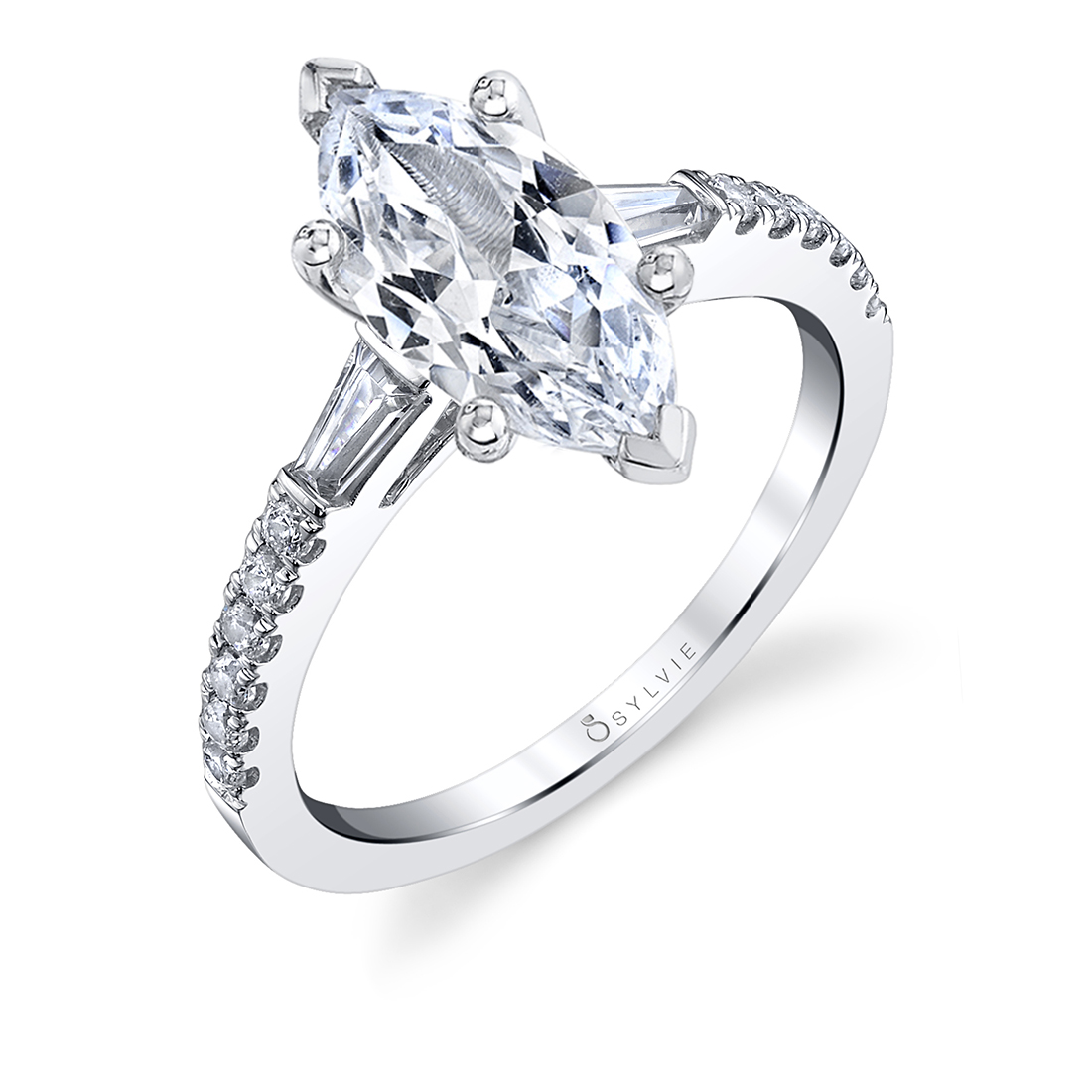 marquise engagement ring with baguettes in white gold