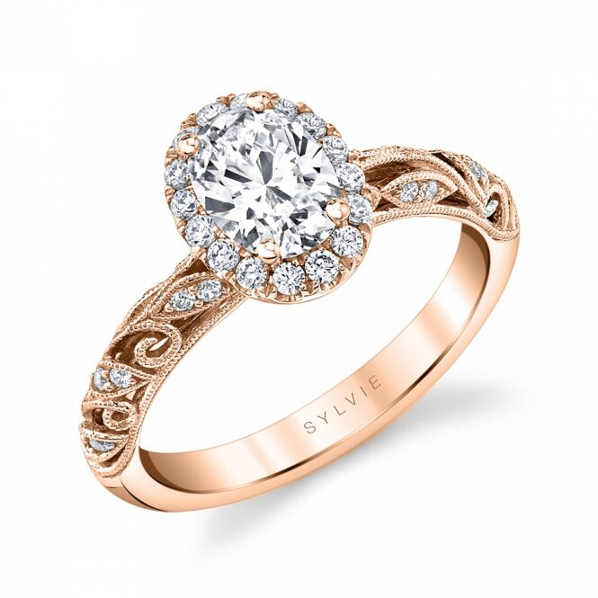vintage oval engagement ring in rose gold